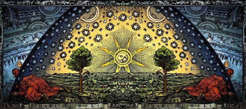 «Гравюра Фламмариона» 1888 года как символ древней космологии (цветная панорама)