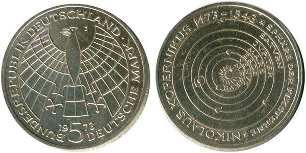 5 марок «500-летие Николая Коперника», Германия, 1973 год