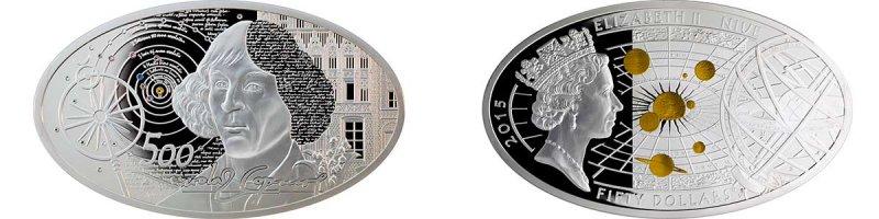 50 долларов «Николай Коперник», Ниуэ, 2015 год