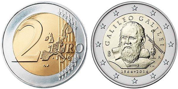 2 евро «450 лет со дня рождения Галилео Галилея», 2014 год