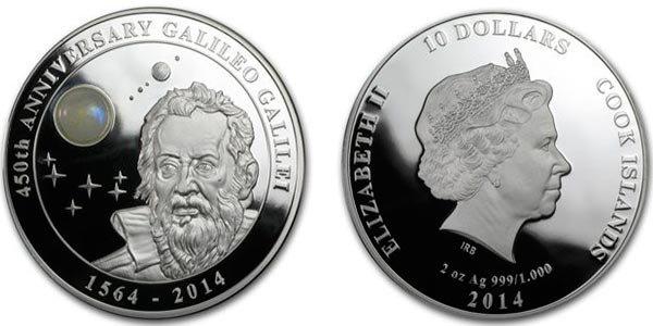 10 долларов «450 лет Галилео Галилею», острова Кука, 2014 год