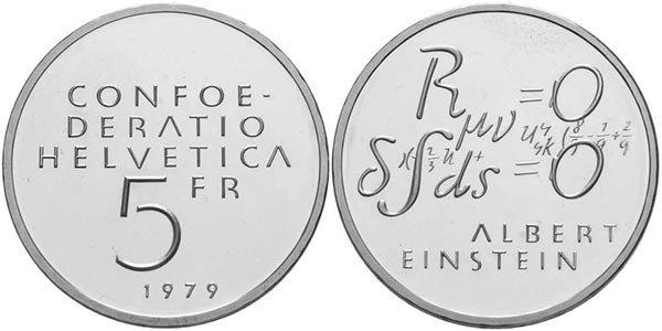 5 франков «100-летие со дня рождения Альберта Эйнштейна: формула», Швейцария, 1979 год