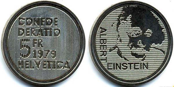 5 франков «100-летие со дня рождения Альберта Эйнштейна: портрет», Швейцария, 1979 год