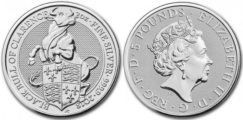 Серебряная монета 5 фунтов. Бык держит щит короля Эдуарда IV