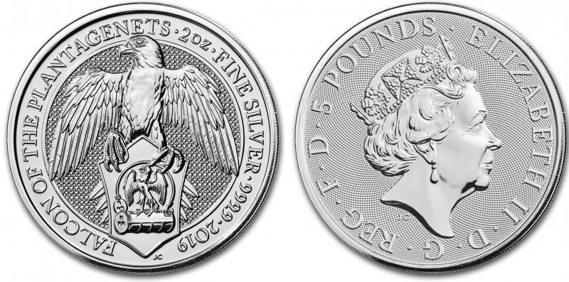 Серебряная монета 5 фунтов. Позже Сокол был принят Генрихом VII, объединившим два дома Йорк и Ланкастер. К царствованию Елизаветы I Сокол стал признанным королевским зверем