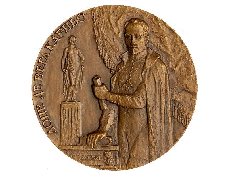 Памятная настольная медаль «425-лет со дня рождения Лопе де Вега», 1989 год, Россия