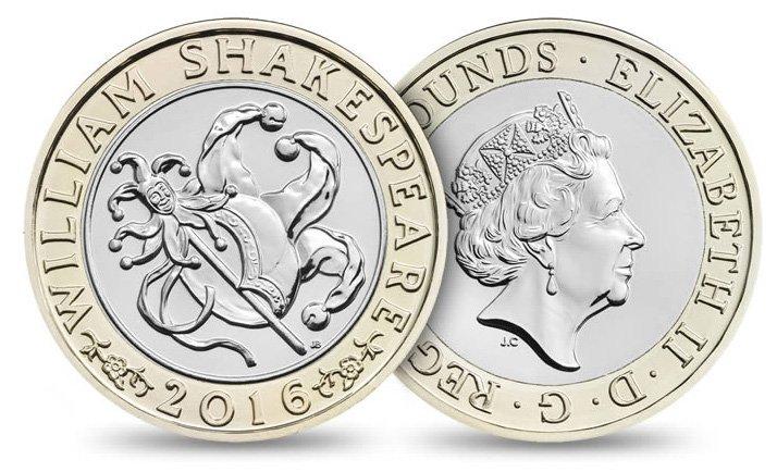 2 фунта стерлингов 2016 года «400-лет со смерти Шекспира. Комедии», Великобритания