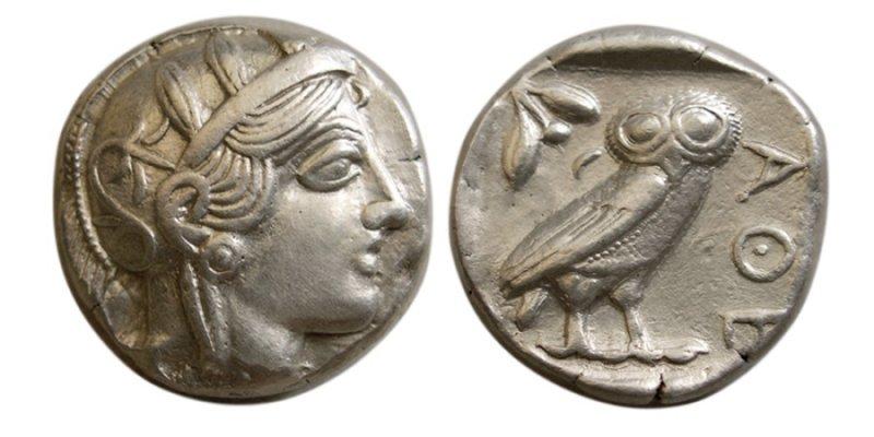 Тетрадрахма из Афин  (465-454 годы до н.э.)