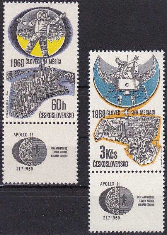 Марки Чехословакии, посвящённые высадке на Луну