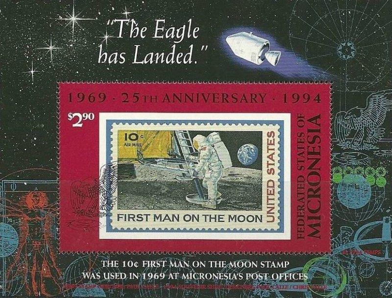 Почтовый блок Маршалловых островов с изображением марки «First man on the Moon»