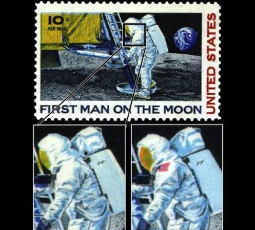 Марка «First man on the Moon» без американского флага (справа фрагмент обычной марки)