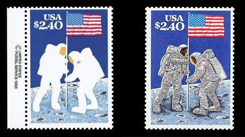 Бракованная и обычная марки США к 20-летию высадки на Луну