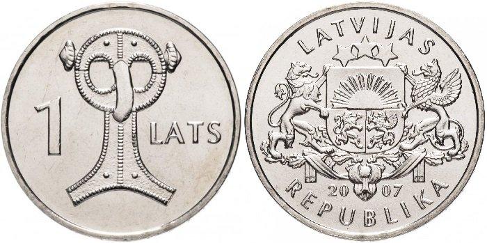 Монета «Сова (Сакта)», медно-никелевый сплав, номинал 1 лат, Латвия, 2007 год. Реверс украшен стилизованным изображением совы