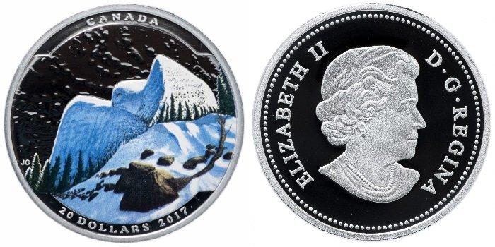 Серебряная монета «Пейзаж иллюзия – снежная сова», номинал 20 долларов, Канада, 2017 год. На реверсе отчеканено изображение совы в цвете, распахнутые крылья которой напоминают горы