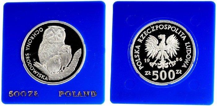 Серебряная монета «Охрана окружающей среды – совы», номинал 500 злотых, Польша, 1986 год. На реверсе изображена сова с совятами