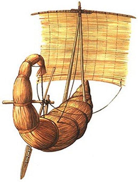 Древнеегипетское судно с парусом