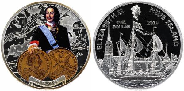 Ниуэ. 1 доллар 2011 года. Пётр I. Парусник у Петропавловской крепости