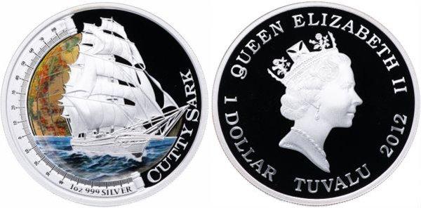 """Тувалу, 1 доллар 2012 года. Парусник """"Катти Сарк"""""""