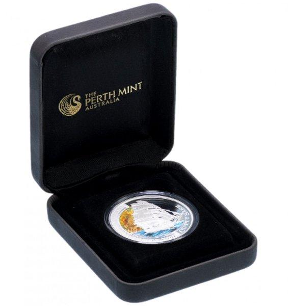 Тувалу, 1 доллар 2012 года. Парусник Катти Сарк. Монета в футляре