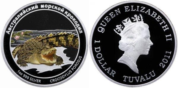Тувалу, 1 доллар 2011 года. Австралийский морской крокодил