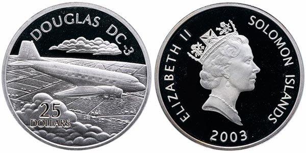 25 долларов «Самолеты мира: Дуглас DC-3», Соломоновы острова, 2003 год