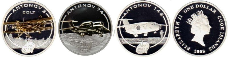 1 доллар «Ан-2», «Ан-74», «Ан-148» из серии «Самолеты Антонова», Острова Кука, 2008 год