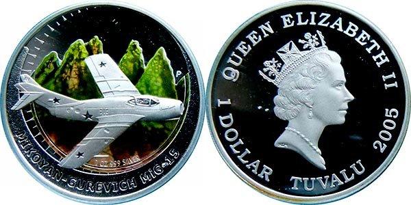 1 доллар «МиГ-15», Тувалу, 2005 год