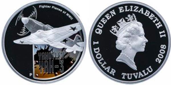 1 доллар «Як-3» из серии «Самолёты второй мировой войны»,Тувалу, 2008 год