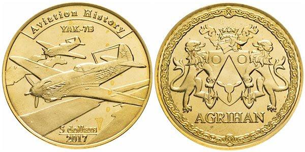 5 долларов«ЯК-7Б» серии «История авиации», Агрихан, 2017 год