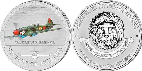 Монета «История авиации: Як-7Б», Бурунди, 2014 год