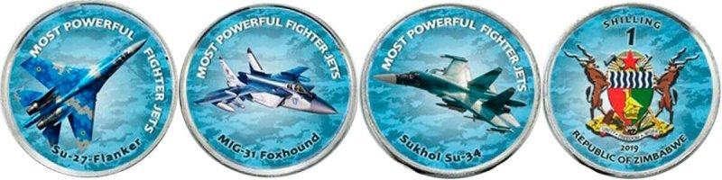 1 шиллинг «Су-27», «Су-34», «МиГ-29» и «МиГ-31», Зимбабве, 2019 год