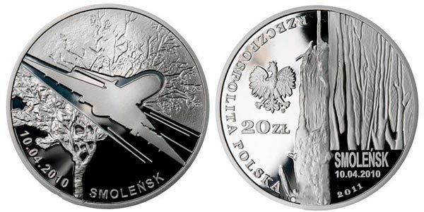 20 злотых «Годовщина смоленской авиакатастрофы», Польша, 2011 год
