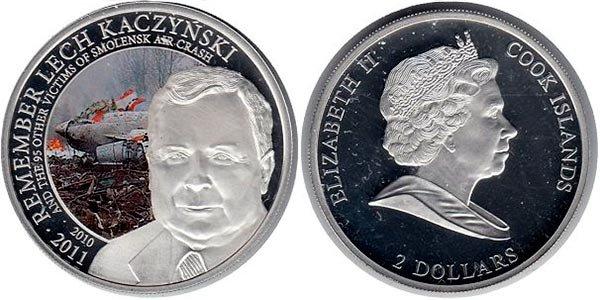 2 доллара «Год памяти Леха Качиньского», Острова Кука, 2011 год