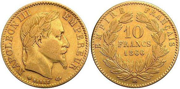 10 золотых франков Наполеона Третьего
