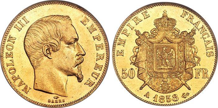 50 золотых франков Наполеона Третьего