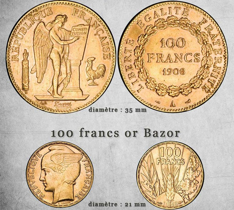 100 франков - 5 наполеондоров и bazor