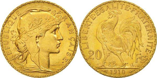 20 золотых франков 1910 года