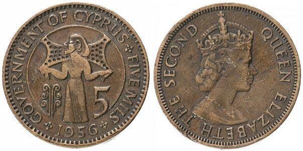 Английская монета в 5 милей 1956 года