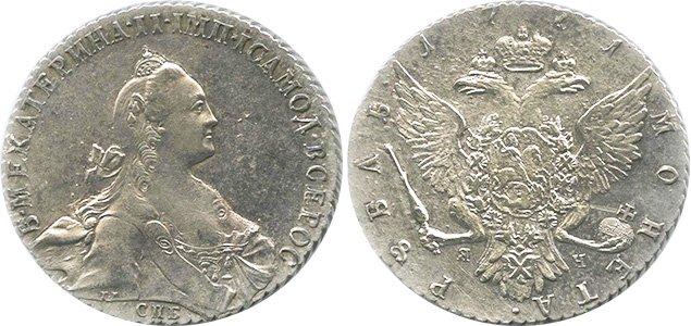 Рубль с портретом Екатерины II (СПБ-TI-ЯЧ)