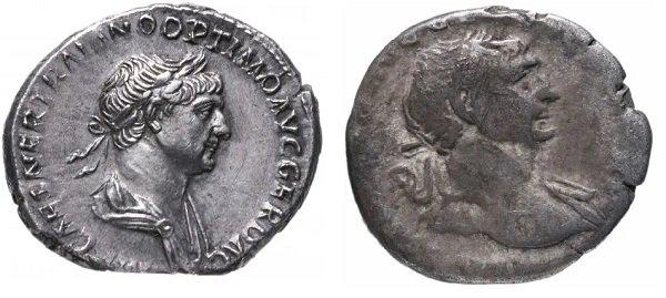 Полноценный (3,13 г) и изношенный неполноценный (2,59 г) серебряные денарии императора Траяна (98-117 гг.)