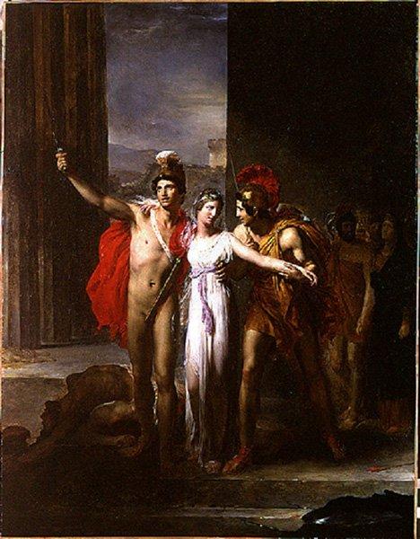 Кастор и Полидевк освобождают Елену из плена. Картина Леона Конье