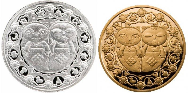 Медно-никелевый и золотой варианты монеты