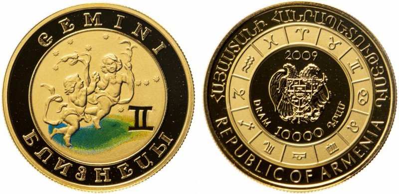 Золотая монета «Близнецы». Армения