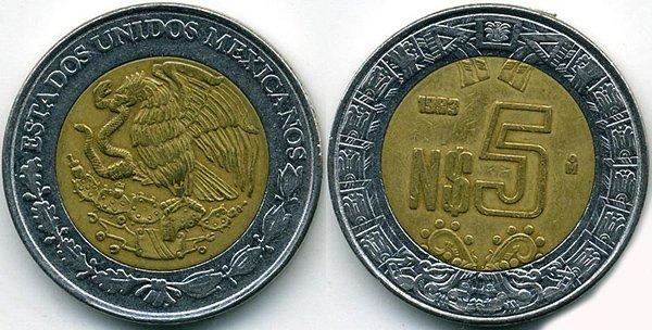 5 новых песо 1993 г.