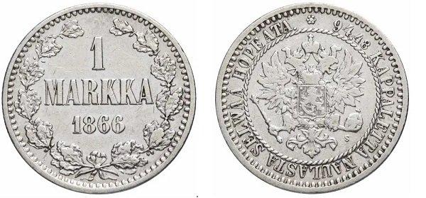 Великое Княжество Финляндское, 1 марка 1866 г