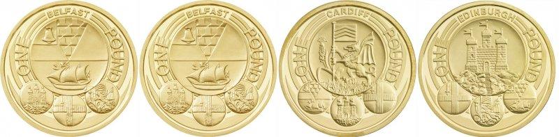 Реверсы однофунтовых монет, посвященных столицам. Дизайнер Стюарт Девлин