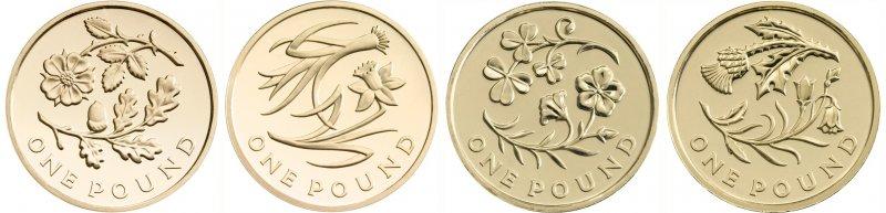 Реверсы однофунтовых монет, посвященных растения-символам стран Соединённого Королевства. Слева на право: Дизайнер Тимоти Ноад