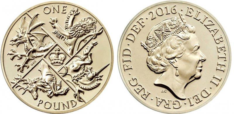 Однофунтовая монета 2016 года. Последний круглый фунт. Гуртовая надпись DECUS ET TUTAMEN (лат. «Украшение и защита»)