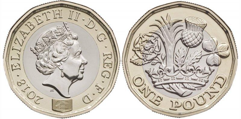 Новая 12-ти угольная однофунтовая монета 2018 года