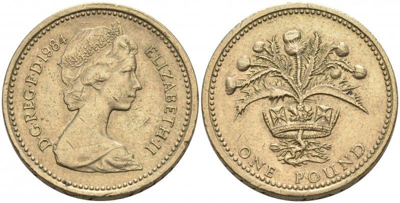 Один фунт 1984 года, посвященный Шотландии. Чеканился в 1984 и 1989 годах